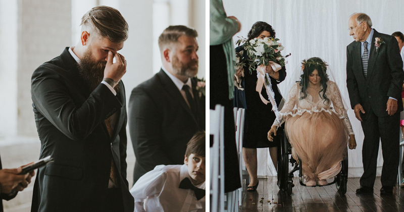 Paralyzed Bride Walking Down The Aisle At Wedding Brings Groom To Tears